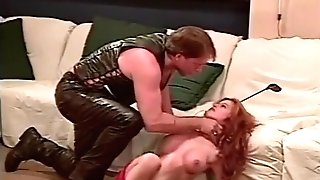 Leather Stud Hank Armstrong Predominates Lovely Redheaded Chick