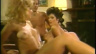 Nina HArtley and Nikki Knight in a FFM  retro scene